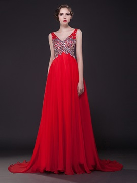 Luxurious V-Neck Beading A-Line Court Train Long Evening Dress & Evening Dresses for sale