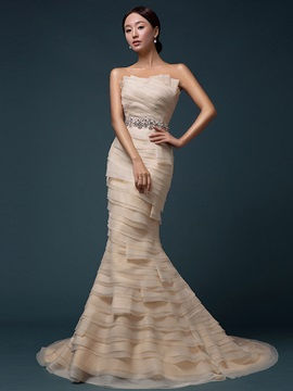 Glamorous Mermaid Crystal Tiered Strapless Lace-up Long Evening Dress & Evening Dresses for sale