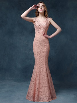 Amazing Mermaid V-Neck Lace Appliques Beaded Lace-up Long Evening Dress & Evening Dresses under 100