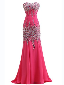 Sweetheart Beading Sequined Sweep Train Mermaid Evening Dress & modest Evening Dresses