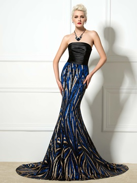 Amazing Strapless Court Train Lace-up Mermaid Long Sequined Evening Dress & Evening Dresses for sale