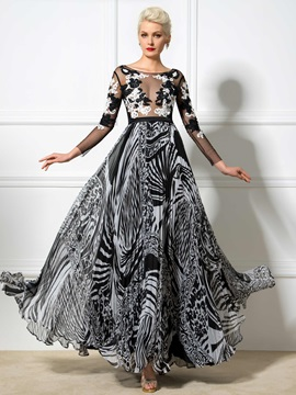 Sexy V-Back Long Sleeves Appliques Long Print Evening Dress & Evening Dresses for less