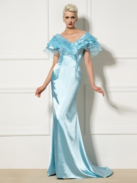 Fancy V-Neck Cap Sleeve Tiered Sweep Train Long Mermaid Evening Dress & Evening Dresses for sale