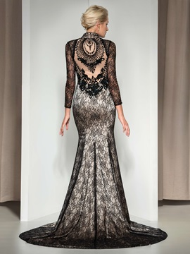 Vintage V-Neck Long Sleeves Beaded Court Train Long Mermaid Lace Evening Dress & Evening Dresses for less