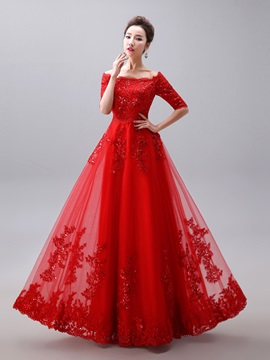 Glamorous Off the Shoulder Half Sleeve Appliques Long Red Evening Dress & fairy Evening Dresses