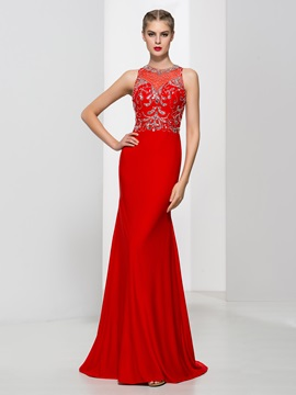 Amazing Jewel Neck Beading Sheath Red Evening Dress & Evening Dresses for sale