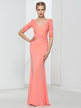 Graceful V-Neck Beading Draped Sheath Evening Dress & affordable Evening Dresses