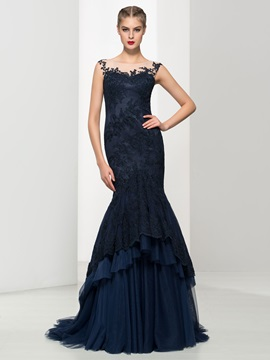 Timeless Scoop Neck Appliques Tiered Tulle Mermaid Evening Dress & fashion Evening Dresses