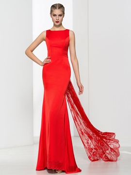 Simple Straps Bowknot Lace Sheath Red Evening Dress & quality Evening Dresses