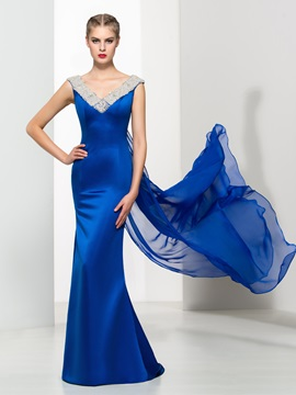 Amazing V-Neck Beading Watteau Train Long Evening Dress & informal Evening Dresses