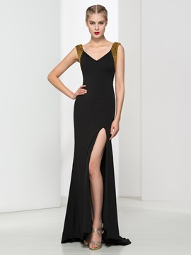 Fashion V-Neck Sequins Beading Sheath Black Evening Dress & vintage style Evening Dresses