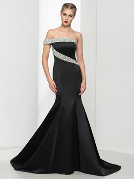 Graceful One Shoulder Pearls Black Mermaid Evening Dress & inexpensive Evening Dresses