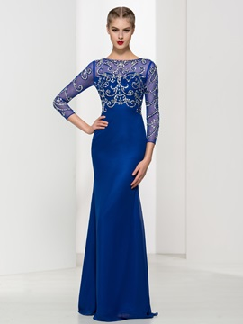 Luxurious 3/4 Length Sleeves Beading Sheath Evening Dress & quality Evening Dresses