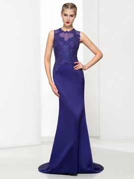 Graceful Jewel Neck Appliques Sequins Trumpet Evening Dress & simple Evening Dresses