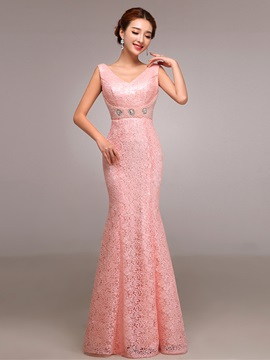 Pretty V-Neck Pearls Sheath Lace Evening Dress & attractive Evening Dresses
