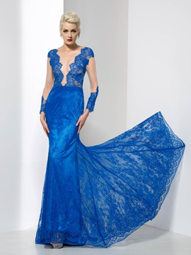 Sexy Sheer Neck Long Sleeves Sheath Lace Evening Dress & vintage Evening Dresses