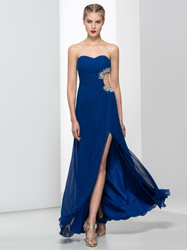 Sweetheart Beading Split-Front Hollow Long Evening Dress & quality Evening Dresses