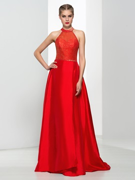 Amazing Halter Beading Sequins Red Evening Dress & Evening Dresses on sale