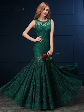 Vintage Scoop Neck Beading Lace Evening Dress & cheap Evening Dresses