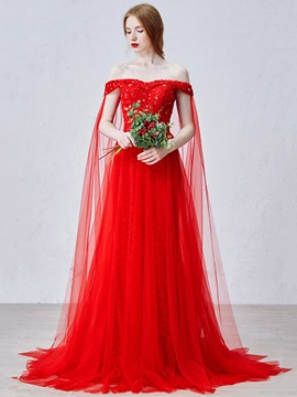 Elegant Off the Shoulder Sequin Bowknot Lace Red Evening Dress & Evening Dresses for sale