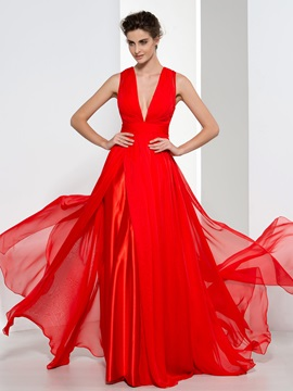 Attractive V-Neck Pleats Button Red Evening Dress & Evening Dresses from china