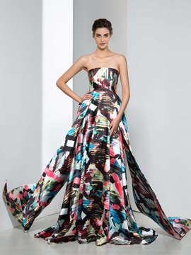 Chic Strapless A-Line Tiered Print Evening Dress & modest Evening Dresses