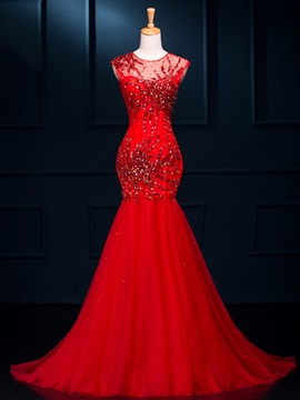 Amazing Scoop Neck Beading Hollow Red Mermaid Evening Dress & Evening Dresses for sale