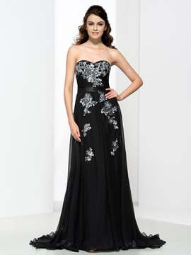 A-Line Sweetheart Appliques Black Evening Dress & casual Evening Dresses