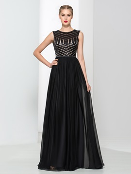 Tidebuy Straps V-Back Sequins Black Evening Dress & inexpensive Evening Dresses