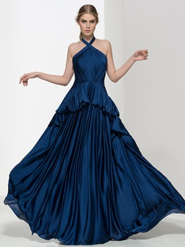 Timeless Halter Pleats Tiered Long Evening Dress & fashion Evening Dresses