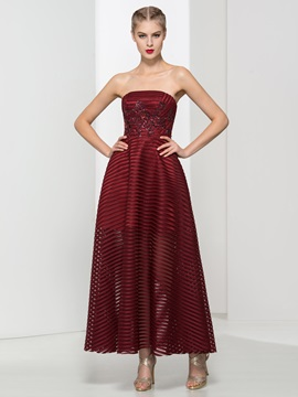 Classy Strapless Appliques Ankle-Length Evening Dress & Evening Dresses under 300