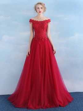 A-Line Off the Shoulder Appliques Lace-up Tulle Evening Dress & Evening Dresses for sale