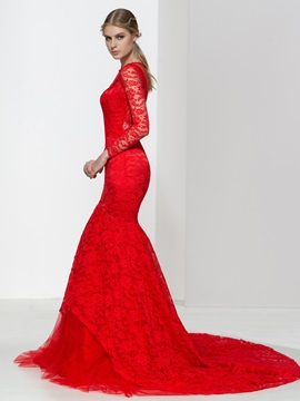 Long Sleeves Red Lace Mermaid Evening Dress & unusual Evening Dresses