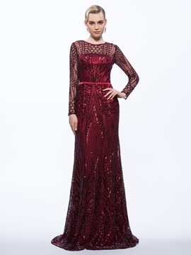 Amazing Sequins Sheath Long Sleeves Evening Dress & Evening Dresses for sale