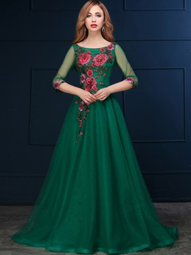Vintage Bateau Neck 3/4 Length Sleeve Appliques Tulle Evening Dress & Evening Dresses for sale