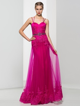 Spaghetti Straps Appliques Beading Column Tulle Evening Dress & Evening Dresses under 300