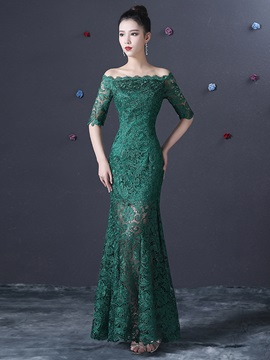 Off the Shoulder Half Sleeves Long Lace Evening Dress & attractive Evening Dresses
