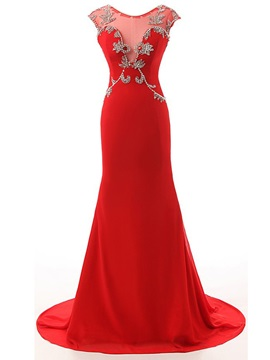 Graceful Scoop Neck Beading Mermaid Evening Dress & simple Evening Dresses