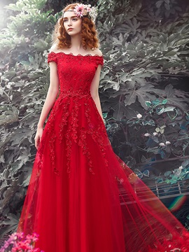 Off the Shoulder Appliques Beading Lace-Up Red Evening Dress & modern Evening Dresses
