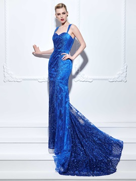 Straps Appliques Sequins Mermaid Lace Evening Dress & Evening Dresses under 500