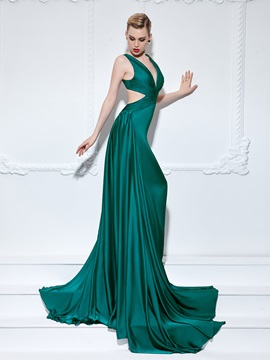 Sexy V-Neck Pleats Hollow A-Line Long Evening Dress & simple Evening Dresses