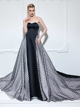 Fashion Sweetheart Polka Dots A-Line Long Evening Dress & modest Evening Dresses