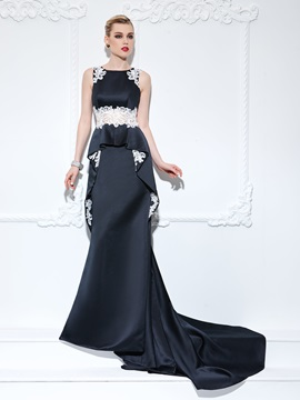 Elegant Straps Appliques Ruffles Long Black Evening Dress & simple Evening Dresses