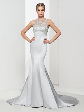 Luxurious Appliques Beading Button Backless Mermaid Evening Dress & Evening Dresses for sale