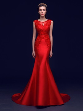 Graceful Scoop Neck Bowknot Beading Lace Mermaid Evening Dress & cheap Evening Dresses