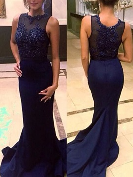 Straps Appliques Beading Mermaid Evening Dress & fairytale Evening Dresses