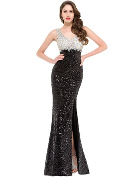 Luxurious V-Neck Crystal Split-Front Sequins Evening Dress & Evening Dresses online