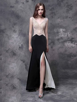 Sheath Straps Beading Split-Front Black Evening Dress & discount Evening Dresses