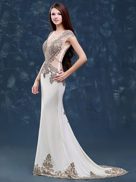 Luxurious Scoop Neck Beading Appliques Mermaid Evening Dress & affordable Evening Dresses