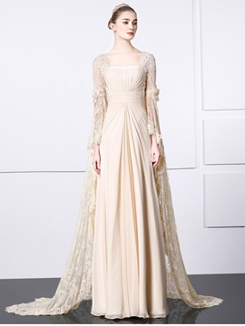 Vintage Square Neck Long Sleeve Watteau Train Lace Evening Dress & petite Evening Dresses